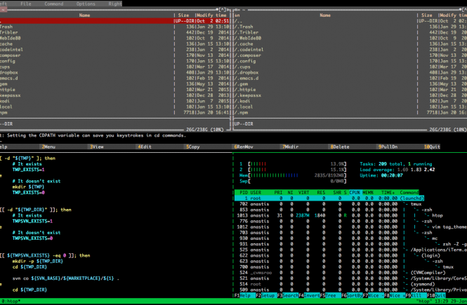 Screenshot of a terminal with tmux running Midnight Commander, vim and htop