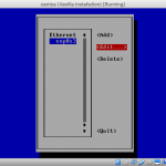 Screenshot of nmtui Edit connection (interface select) screen.