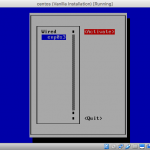 Screenshot of nmtui interface selection to activate.
