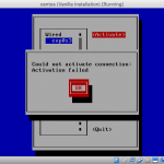 Screenshot of nmtui with failed activation message.