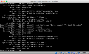 Screenshot of hostnamectl changing and displaying hostname information.