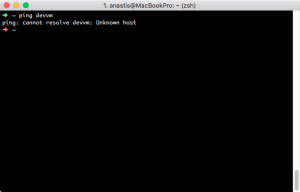 Screenshot of ping: cannot resolve devvm: Unknown host