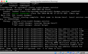 Screenshot of nmcli d and systemctl status avahi-daemon.service running smoothly